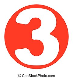 Number 3 sign design template element. vector. white icon in bluish ...