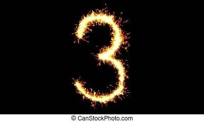 Number 3 Text Sparkler Glitter Sparks Firework Loop...