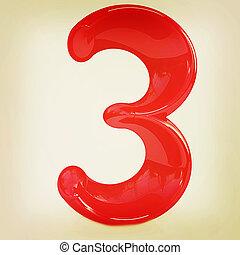 """Number """"3""""- three. 3D illustration. Vintage style."""