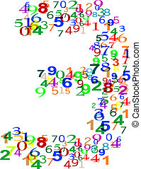 Number 3 Three made from colorful numbers