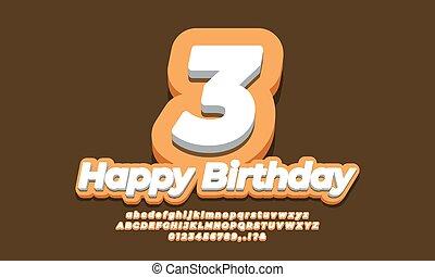 number 3 three year celebration birthday font 3d yellow design