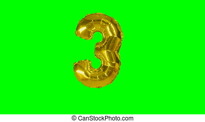 Number 3 three years birthday anniversary gold balloon floating on green screen