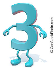 number 3 with arms and legs posing, isolated on white 3d illustration