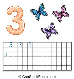 Number 3 with three butterflies