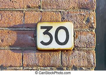 Number 30 - Enameled house number thirty
