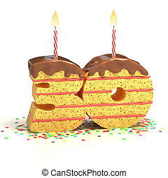 number 30 shaped cake - Chocolate birthday cake surrounded...