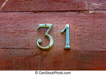 number 31 - bronze house number thirty  one (31)
