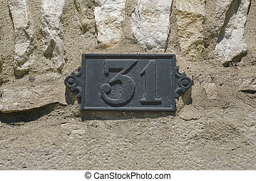 number 31 - metal house number thirty one (31)