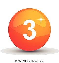 number 3d circle orange