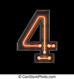 Number 4, Alphabet made from Neon Light