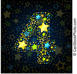 Number 4 cartoon star colored