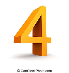 number 4 - Collection of orange numbers on a white ...