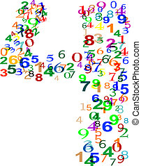 Number 4 Four made from colorful numbers