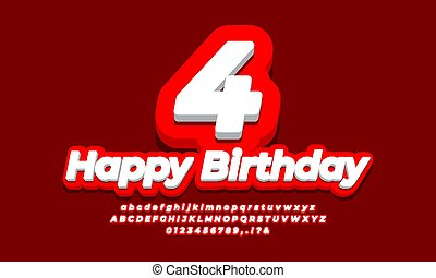 number 4 four year celebration birthday font 3d red design