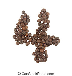 Number 4 from coffee beans