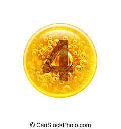 Number 4 in the golden bubble. Vitamins. Bubbles oil inside a large oil bubble isolated on white background