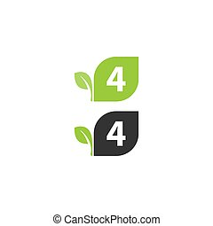 Number 4  logo leaf icon design concept