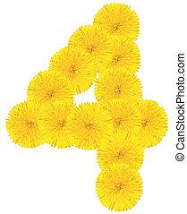 Number 4 made from dandelion flower