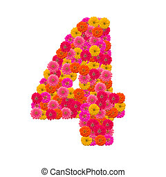 number 4 made from Zinnias flowers