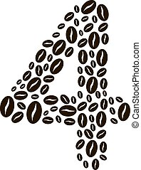 Number 4 made of coffee beans vector set