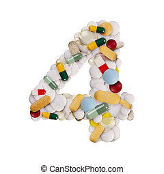 Number 4 made of pills