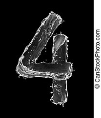 Number 4 made with a splashes of water isolated on black background