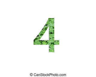 Number 4 of the alphabet made with green leaf of geranium
