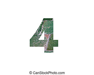 Number 4 of the alphabet made with green tiles