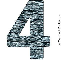 number 4 on wooden background with blue tone.