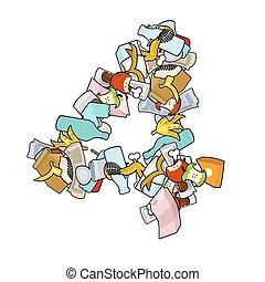 Number 4 Rubbish. Trash font four sign. garbage alphabet symbol. Lettering litter