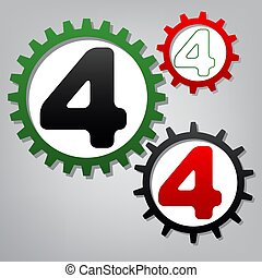 Number 4 sign design template element. Vector. Three connected g