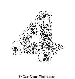 Number 4 skeleton. Bones Font four. Anatomy of an alphabet symbol. dead ABC sign