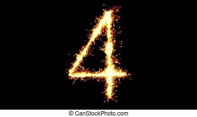 Number 4 Text Sparkler Writing With Glitter Sparks Particles Firework on Black 4K Loop Background. letter , alphabet , typography , Typeface , Font , character .