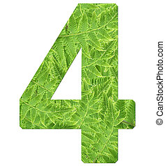 number 4 with fern texture, isolated on white background, font Helvetica World, bold