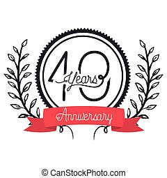 number 40 for anniversary celebration card icon