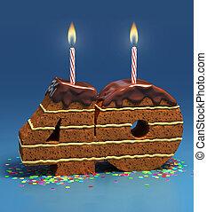 number 40 shaped birthday cake - Chocolate birthday cake...