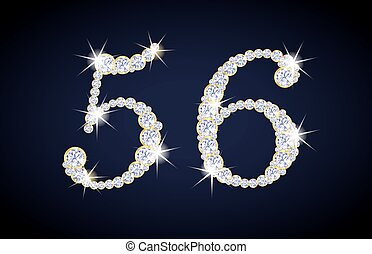 Number 5 and 6 composed from diamonds with golden frame. ...