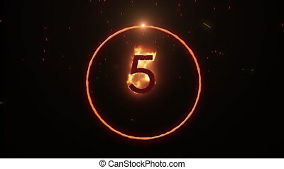 Animation of number 5 and circle geometric shape catching fire moving in seamless loop in hypnotic motion on black background. Colour light concept digitally generated image.