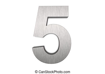 Number 5 - Brushed metal number 5 on white background