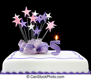 Number 5 Cake - Fancy cake with number 5 candles. Decorated...