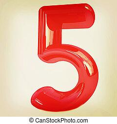 """Number """"5""""- five. 3D illustration. Vintage style."""