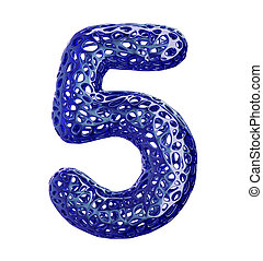 Number 5 five made of blue plastic with abstract holes isolated on white background. 3d
