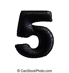 Number 5 five of black balloons on a white background.