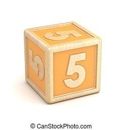 Number 5 FIVE wooden alphabet blocks font rotated. 3D