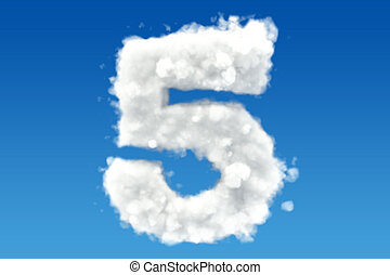 Number 5, from clouds in the sky. 3D rendering