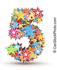 Number 5 from colored stars - Number 5, from bright colored...