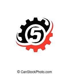 Number 5 Gear Logo Design Template