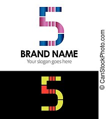 Number 5 logo company vector design
