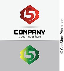 Number 5 logo icon design template