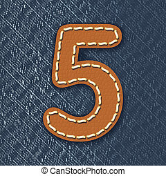 Number 5 made from leather